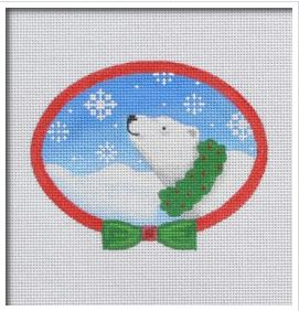click here to view larger image of Polar Bear Wreath (hand painted canvases)