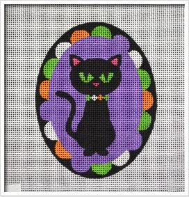 click here to view larger image of Black Cat Ornament (hand painted canvases)