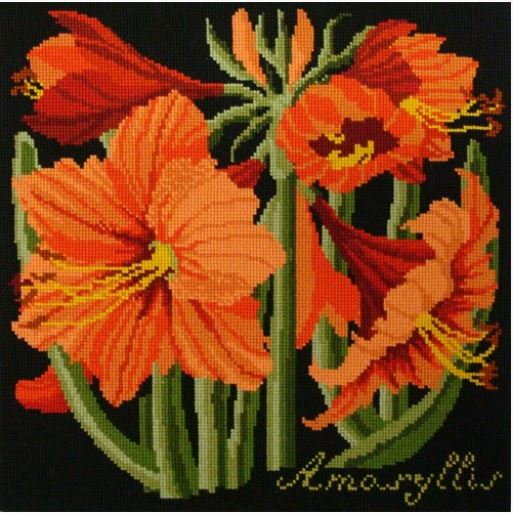 click here to view larger image of Amaryllis (Black Background) (needlepoint kits)