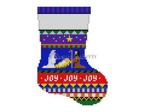 click here to view larger image of Bold Stripe Nativity Mini Stocking (hand painted canvases)