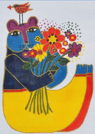 click here to view larger image of Bear with Flowers (hand painted canvases)