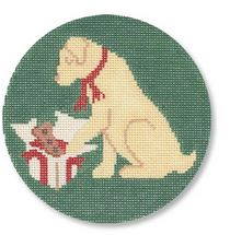 click here to view larger image of Christmas Morning Yellow Lab (hand painted canvases)
