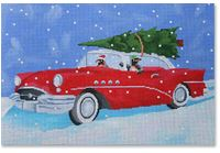 click here to view larger image of Cruisin Christmas Penguins (hand painted canvases)