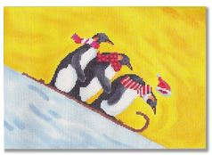 click here to view larger image of Penguins Sledding (hand painted canvases)