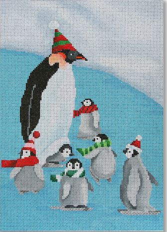 click here to view larger image of Papa Penguin with Babies (hand painted canvases)