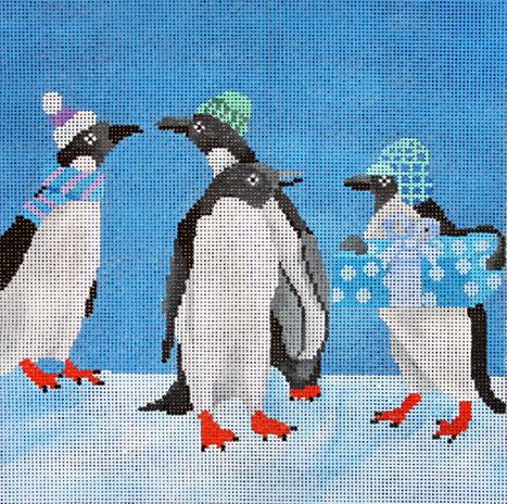 click here to view larger image of Penguins with Package (hand painted canvases)