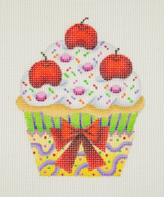 click here to view larger image of Cupcake/Cherries (hand painted canvases)