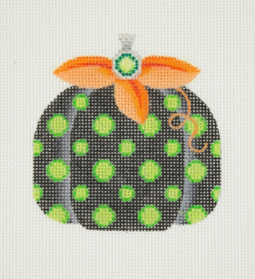 click here to view larger image of Halloween / Pumpkin / Black with Green Polka Dots / Orange Leaves / Green Jewel  (hand painted canvases)