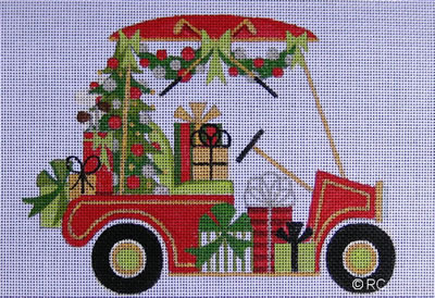 click here to view larger image of Christmas Golf Cart (hand painted canvases)