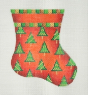click here to view larger image of Christmas Mini-Sock / Red / Trees (hand painted canvases)