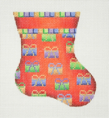 click here to view larger image of Christmas Mini-Sock / Red / Packages (hand painted canvases)