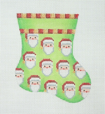 click here to view larger image of Christmas Mini-Sock / Green / Santa Faces  (hand painted canvases)