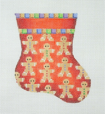click here to view larger image of Christmas Mini-Sock / Red / Gingerbread  (hand painted canvases)