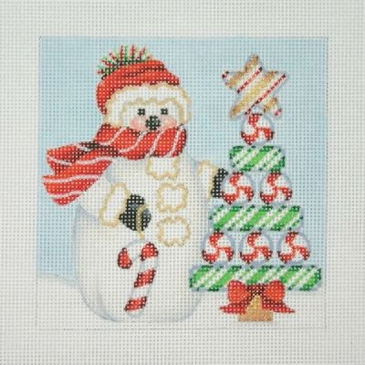 click here to view larger image of Christmas Ornament / Snowman Square / Candy Cane Tree (hand painted canvases)