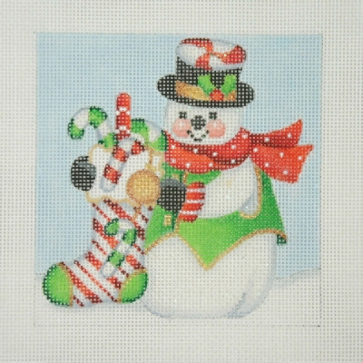 click here to view larger image of Christmas Ornament / Snowman Square / Candy Cane Sock (hand painted canvases)