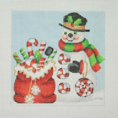 click here to view larger image of Christmas Ornament / Snowman Square / Santa Bag with Candy Canes (hand painted canvases)