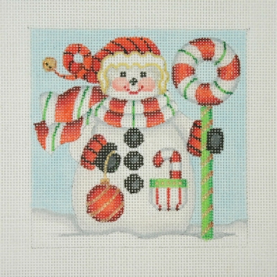click here to view larger image of Christmas Ornament / Snowman Square / Candy Cane Wreath  (hand painted canvases)