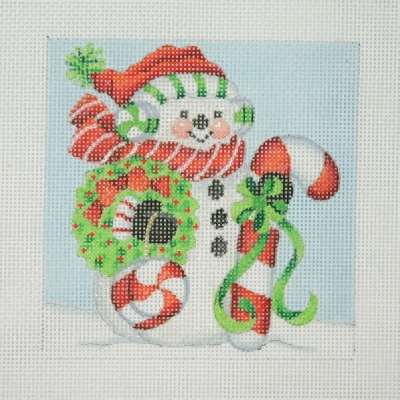 click here to view larger image of Christmas Ornament / Snowman Square / Large Candy Cane & Peppermint  (hand painted canvases)