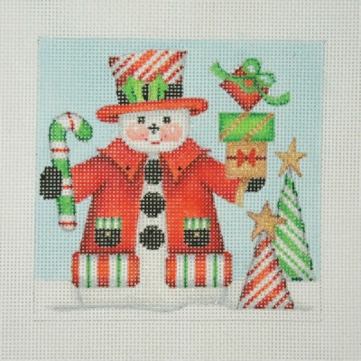 click here to view larger image of Christmas Ornament / Snowman Square / Candy Cane Top Hat & Trees  (hand painted canvases)