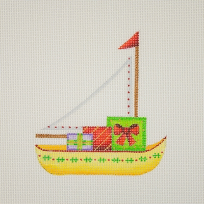 click here to view larger image of By the Sea / Sailboat / Yellow /  Packages (hand painted canvases)