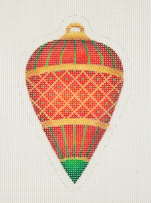 click here to view larger image of Jeweled Christmas Ball / Red / Green / Gold  (hand painted canvases)