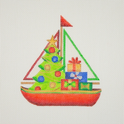 click here to view larger image of By the Sea / Sailboat / Blue / Christmas Tree & Packages (hand painted canvases)