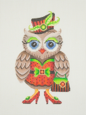 click here to view larger image of Owl / Red & Black Hat / Green Eye Shadow / Red Dress, Shoes, & Purse (hand painted canvases)