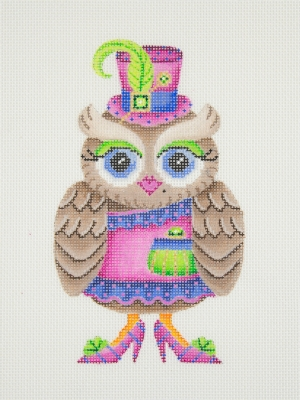 click here to view larger image of Owl / Pink & Blue Hat / Green Eye Shadow / Pink, Blue, & Green Dress, Shoes, & Purse (hand painted canvases)