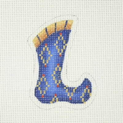 click here to view larger image of Christmas Ornament / Mini-Ornament / Sock / Royal Blue / Gold Diamond Shapes  (hand painted canvases)