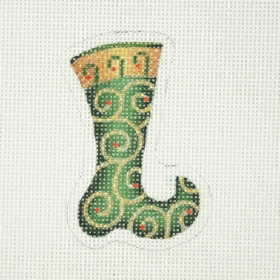 click here to view larger image of Christmas Ornament / Mini-Ornament / Sock / Forest Green / Gold Swirls (hand painted canvases)