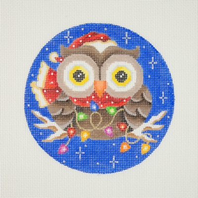 click here to view larger image of Owl / Red & White Santa Hat & Scarf / Christmas Lights / Dark Blue Background  (hand painted canvases)