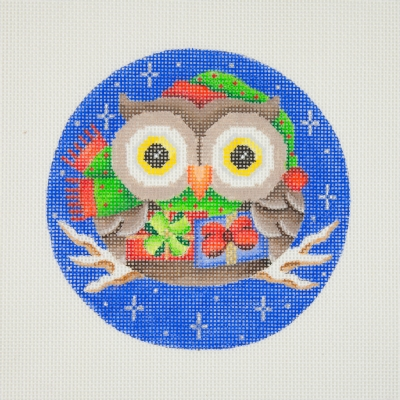 click here to view larger image of Owl / Green & Red Santa Hat & Scarf / Packages / Dark Blue Background  (hand painted canvases)