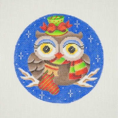 click here to view larger image of Owl / Green & Red Hat & Scarf / Blue Eye Shadow / Sock / Dark Blue Background  (hand painted canvases)