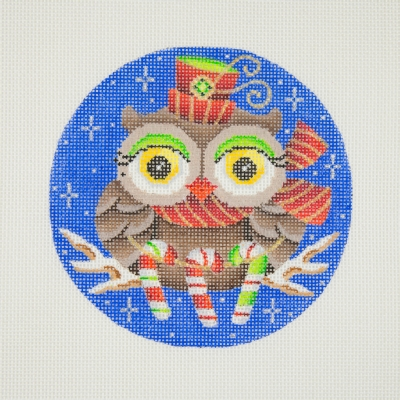 click here to view larger image of Owl / Red & Gold Hat & Scarf / Green Eye Shadow / Candy Canes / Dark Blue Background  (hand painted canvases)