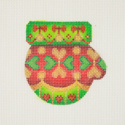 click here to view larger image of Christmas Ornament / Mini-Mitten / Red, Green & Gold / Hearts / Green Cuff (hand painted canvases)