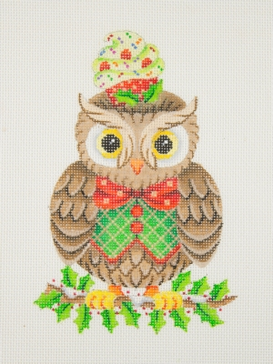 click here to view larger image of Owl / Holly Branch / Red, Green & Gold Bow Tie & Vest / Cupcake (hand painted canvases)