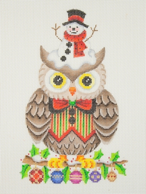 click here to view larger image of Owl / Holly Branch with Christmas Balls / Red, Green, Gold & Black Bow Tie & Vest (hand painted canvases)