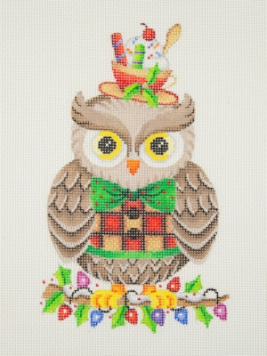 click here to view larger image of Owl / Holly Branch with Lights / Red, Green, Gold & Black Bow Tie & Vest / Tea Cup  (hand painted canvases)