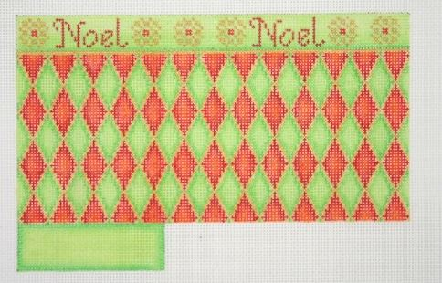 click here to view larger image of Shopping Bag / Noel / Red, Green & Gold Diamond Pattern (hand painted canvases)