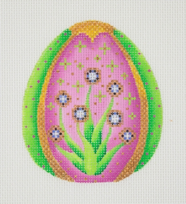 click here to view larger image of Jeweled Egg / Pink, Green, & Gold / Purple Jewels  (hand painted canvases)