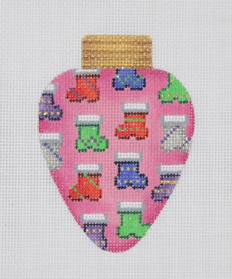 click here to view larger image of Christmas Ornament / Christmas Light / Pink / Socks  (hand painted canvases)