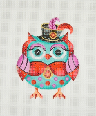 click here to view larger image of Owl / Black Hat / Pink Eye Shadow / Aqua, Red, & Pink Body / Red Jewel  (hand painted canvases)