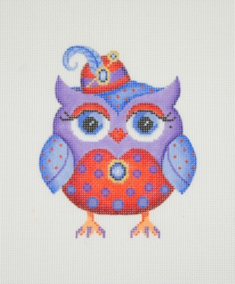 click here to view larger image of Owl / Red Hat / Red Eye Shadow / Purple, Blue, & Red Body / Blue Jewel (hand painted canvases)