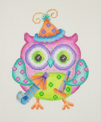 click here to view larger image of Owl / Party Hat / Pink, Green, & Aqua Body (hand painted canvases)