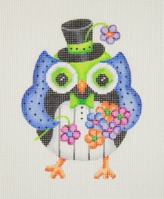 click here to view larger image of Owl / Black Top Hat / Blue, Green, Black & White Tuxedo Body (hand painted canvases)