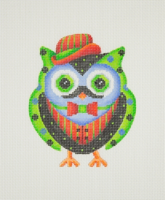 click here to view larger image of Owl / Red & Green Hat, Bow Tie, & Vest / Black, Green, & Blue Body (hand painted canvases)