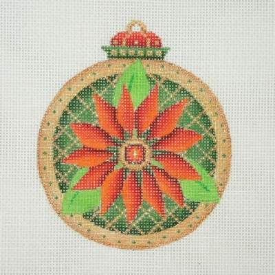 click here to view larger image of Jeweled Christmas Ball / Dark Green & Gold / Poinsettia  (hand painted canvases)