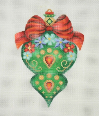 click here to view larger image of Jeweled Christmas Ball / Green / Red Bow, Flowers & Jewels (hand painted canvases)