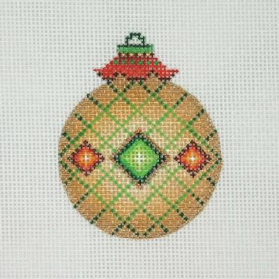 click here to view larger image of Jeweled Christmas Ball / Gold / Green & Red Jewels / Green Accents  (hand painted canvases)