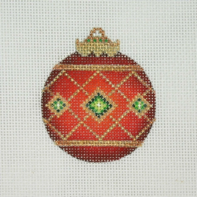 click here to view larger image of Jeweled Christmas Ball / Red / Green Jewels / Gold Accents (hand painted canvases)